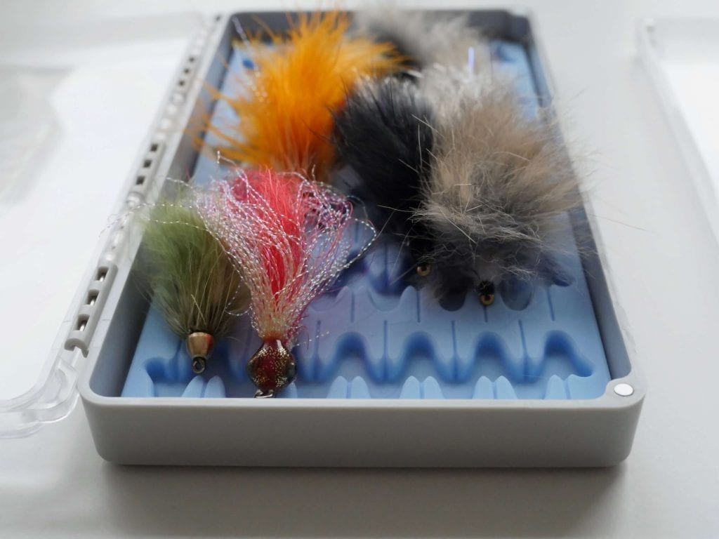 Streamers in fly fishing box