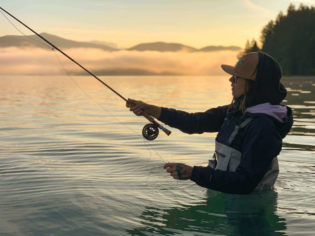 Casting at sunset - lake trout fishing