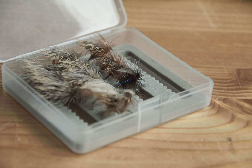 Dry flies in fly box
