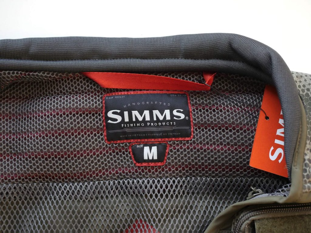 Simms Fly Fishing Vest Inside Collar
