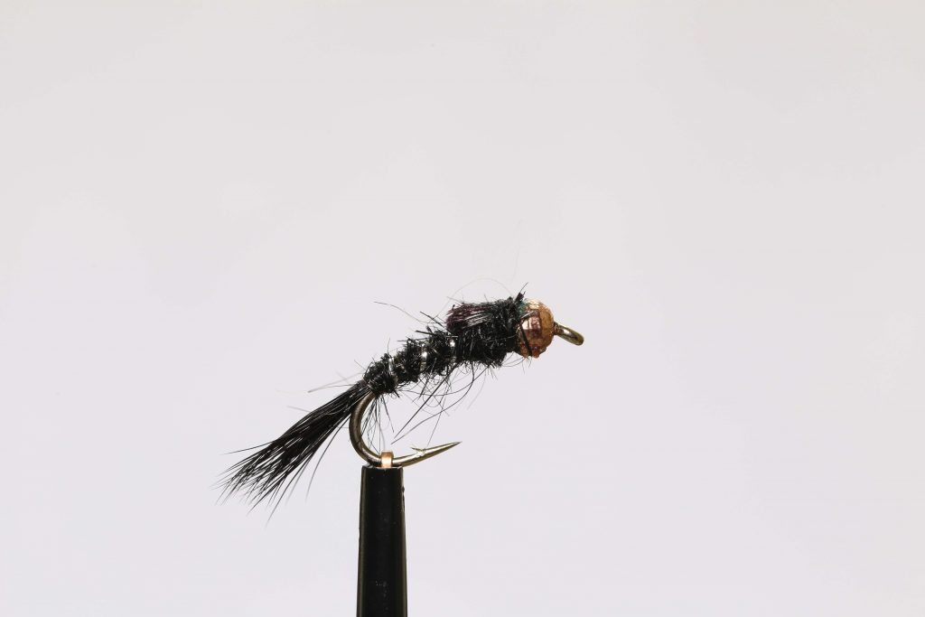 Small stream fly fishing tungsten copper Hare's Ear black