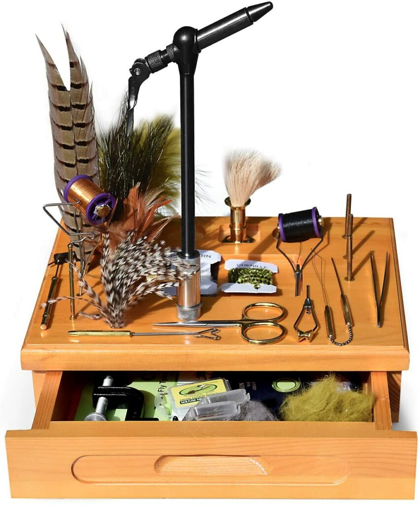Creative Angler Wooden Fly Tying Station with Tools and Materials