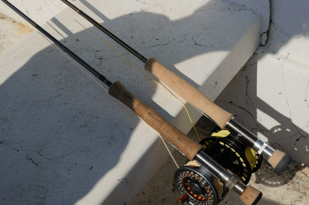 Fly rods rigged with fly reels