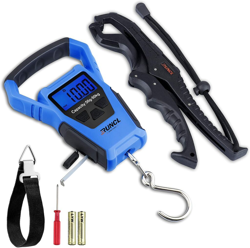 RUNCL Waterproof Fishing Scale with Fish Gripper