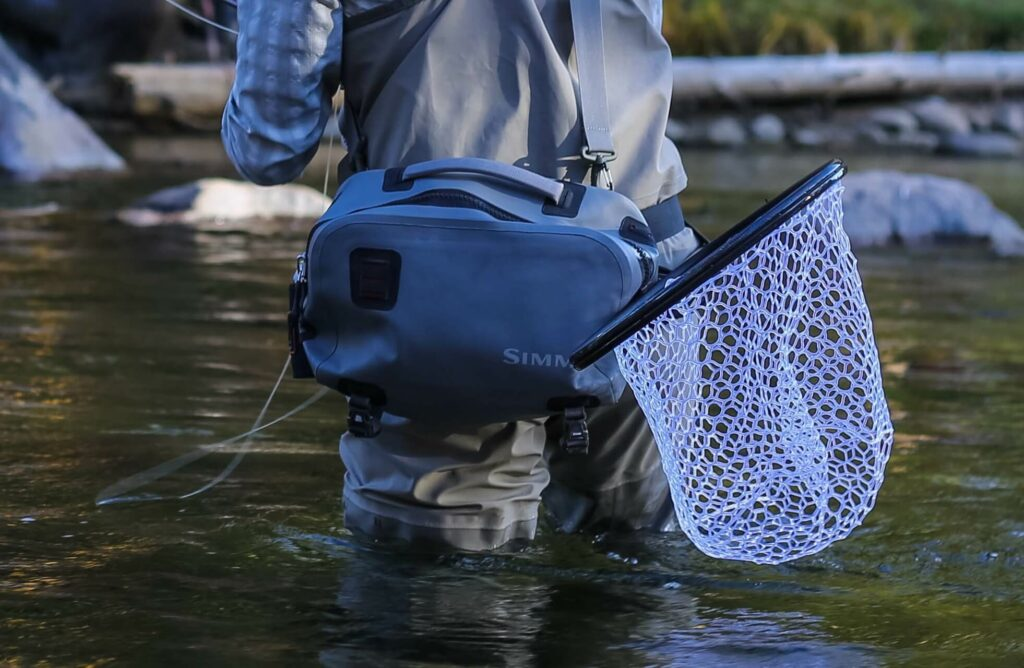 A waterproof fly fishing hip pack