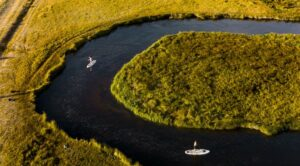 Fishing Paddle Board Riders from above
