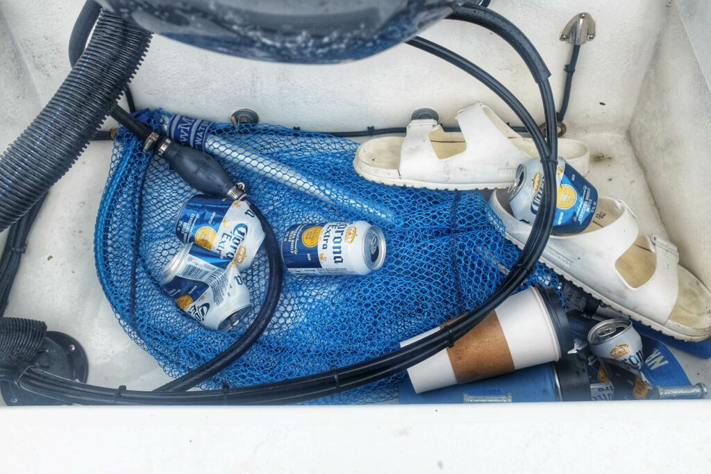 Beer cans on our skiff