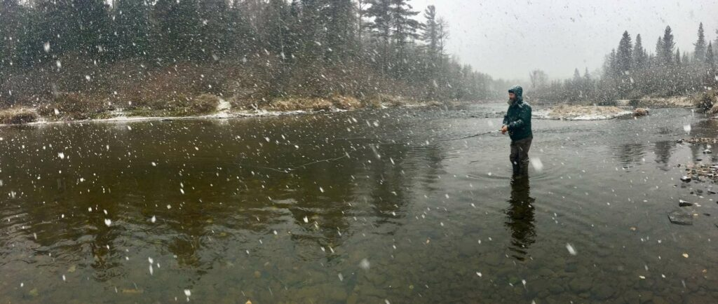 Fly fishing for salmon in Canada