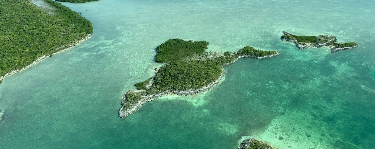 Aerial view of islands in the Bahamas
