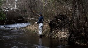 A young fly fisher standing in the river