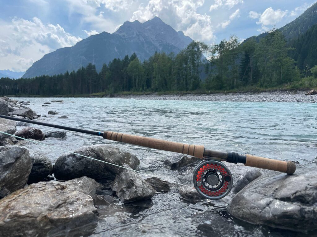 Fly rod and reel at the river